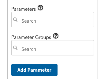 Screenshot of a portion of the Tableau Data Connector, showing boxes for selecting paramaeters and parameter groups.
